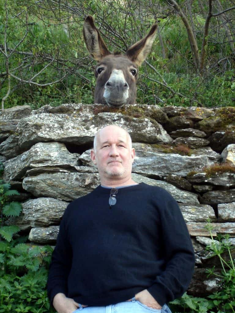 Matt Barrett and a donkey in Greece